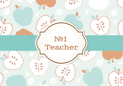 number one teacher greeting card template